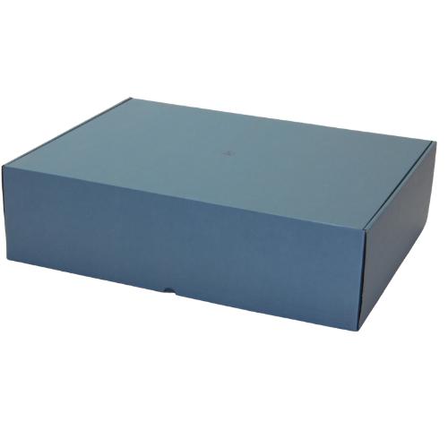 Boite carton blindé bleu avec mousse antistatique et couvercle attenant ( Type FEFCO 427 )
