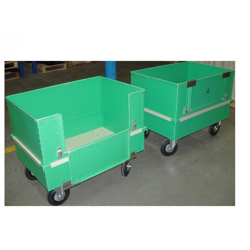 Chariot conteneur avec ouverture latérale et gerbable